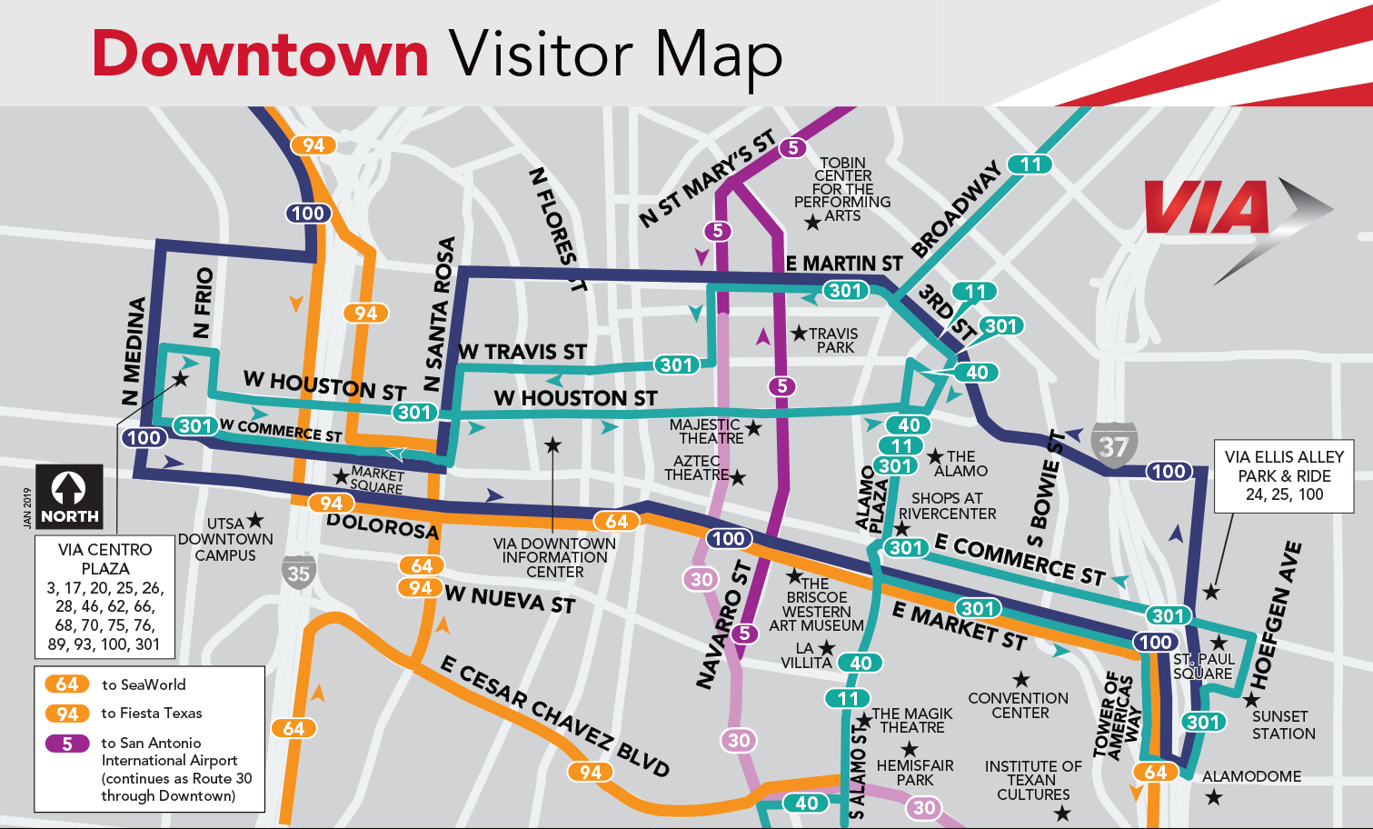 VIA19_Downtown Visitor Map JAN - VIA Metropolitan Transit on santa barbara bus map, shenzhen bus map, wisconsin bus map, old san juan bus map, california bus map, sitka bus map, mobile bus map, grapevine bus map, louisville bus map, santa rosa bus map, brazos river texas lakes map, racine bus map, houston bus map, chapel hill bus map, dayton bus map, austin bus map, salt lake city bus map, utah bus map, st paul bus map, santa ana bus map,